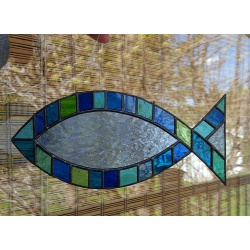 Stained Glass Ichthus Suncatcher, #401