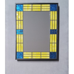 Mosaic Mirror, Yellow/Blue, Framed #608